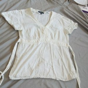 Elementz white tie-back blouse size medium